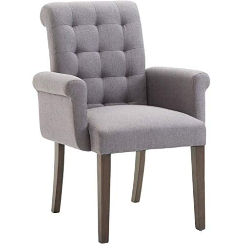 8HAOWENJU Fabric Tufted Dining Chair with Armrests and Solid Wood Legs (Color : Gray)