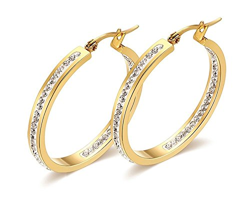 Ginasy Elegant 925 Sterling Silver Tailored Endless Hoop Earrings Earrings 6 Size, CZ 14K Gold Plated Jewelry for Fashion or Wedding (Gold CZ 1.5