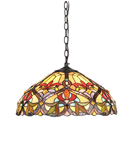 (Chloe Lighting CH33352VR18-DH2 Tiffany-Style Victorian 2 Light Ceiling Pendant Fixture 18-Inch Shade, Multi-Colored)