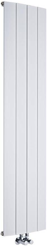Hudson Reed Radiador Aurora de Diseño Vertical - Radiador de Aluminio con Acabado Blanco - 1226W - 1600 x 375mm - Calefacción Moderna