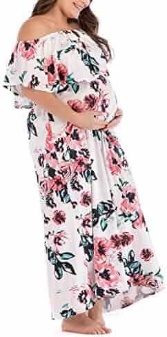 Clearance T Shirts FRana Women's Maternity Dresses Off Shoulder Pregnant Breastfeeding Dress Bodycorn