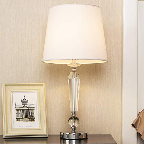 (Popity Home Contemporary Bedroom Living Room Crystal Table Lamp,Bedside Table Lamp with White Fabric Shade)