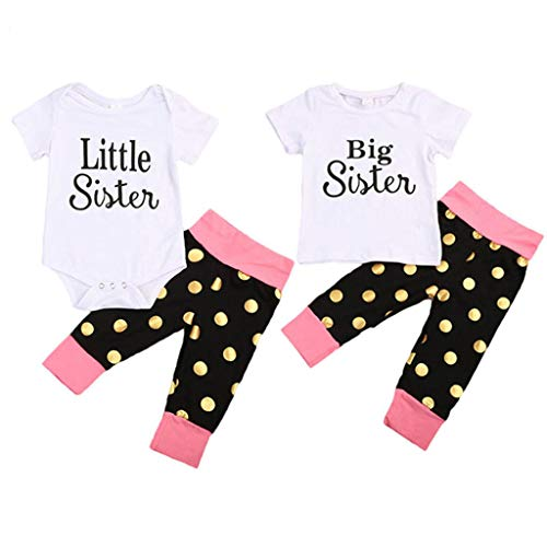 New Cotton Matching Outfits Baby Girl Little Big Sister Short Sleeve Romper T-Shirt Tops Polka Pants Clothes Sets 9M Beige (Brother And Sister Matching Christmas Outfits Uk)