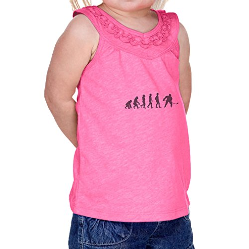 Cute Rascals Evolution of Ice Hockey Infants Jersey V Neck Ruffle Yoke Tank Hot Pink 24 - Jersey Hockey Evolution