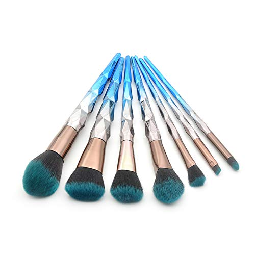Everfavor Premium Makeup Brushes 7 Pieces Set Synthetic Foundation Powder Blending Blush Eye Shadows Face Makeup Tools Cosmetic Brushes Kit (Gorgeous- Blue) (Best Makeup Ideas For Blue Eyes)