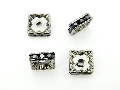 jennysun2010 Czech Crystal Rhinestone Gunmetal Plated 10mm Jet Black Squaredelle Spacer Beads 100pcs per Bag for Bracelet Necklace Earrings Jewelry Making Crafts Design Squaredelle Jet