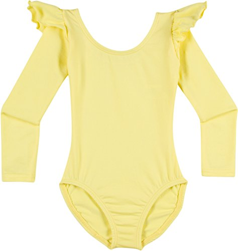 Toddler and Girls Leotard for Dance, Gymnastics and Ballet with Flutter Ruffle Long Sleeve Yellow I (6-7)