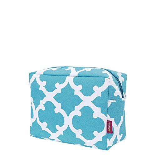 N. Gil Large Travel Cosmetic Pouch Bag 2 (Geo Aqua Blue)
