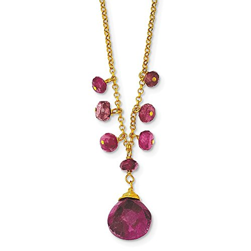 ilver & Vermeil Simulated Ruby Necklace Chain 16