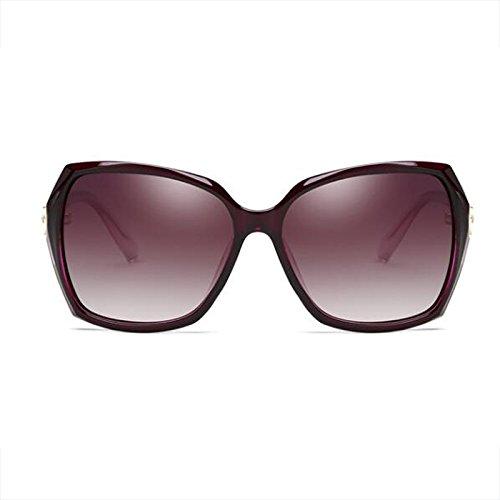 Cara Bright Cara oscuro larga de black Morado Big redonda cuadradas Gafas Glasses sol Color Gafas protección Elegante de sol Resina Face femeninas Polarizer UV WLHW de OqBC4wZ4