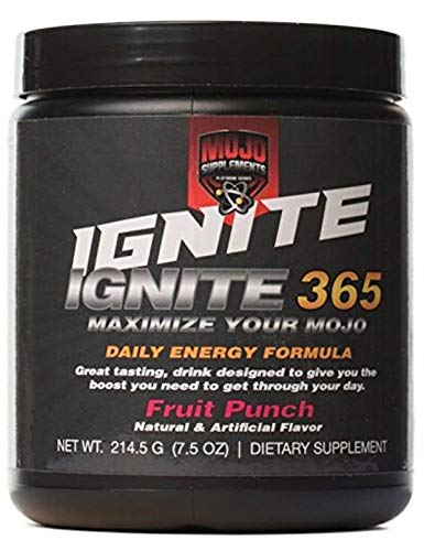 Ignite 365 - Daily Energy Formula - Fruit Punch (7.5 oz) – Boost Energy Focus & Stamina - Workout Supplement for Gym Fitness Or Sports - Power Performance & Recovery Booster – Pre Or Post Work Out