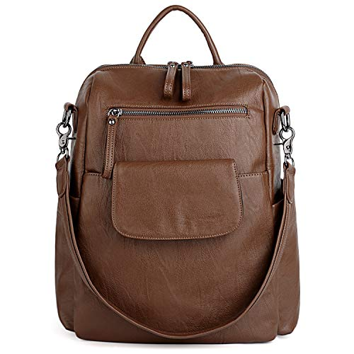 Leather 3 Way - UTO Women Backpack Purse 3 ways PU Washed Leather Ladies Rucksack Shoulder Bag B Brown