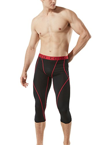 TM-MUC18-KKR_Large TSLA Men's Compression Capri Shorts Baselayer Cool Dry Sports Tights MUC18 by TSLA (Image #5)