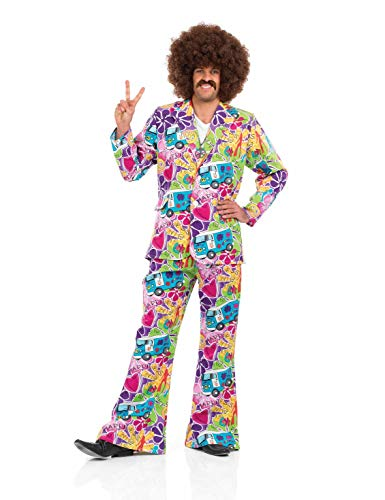fun shack Mens 70s Campervan Hippie Costume Adults 60s Flower Power Hippy Suit - Large ()
