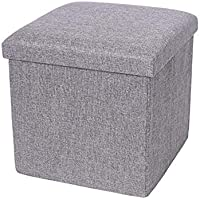 Storage Ottoman, Storage Box,Bedroom Foldable Cube Ottoman with Storage, Foot Rest, Cloth Foot Stools and Ottomans with…