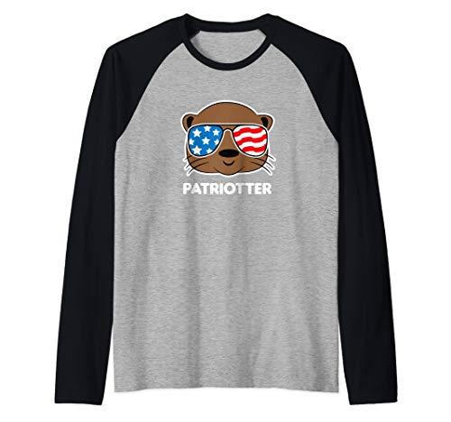 July 4th Otter Funny American Flag USA Fourth Cute Raglan Baseball Tee ()