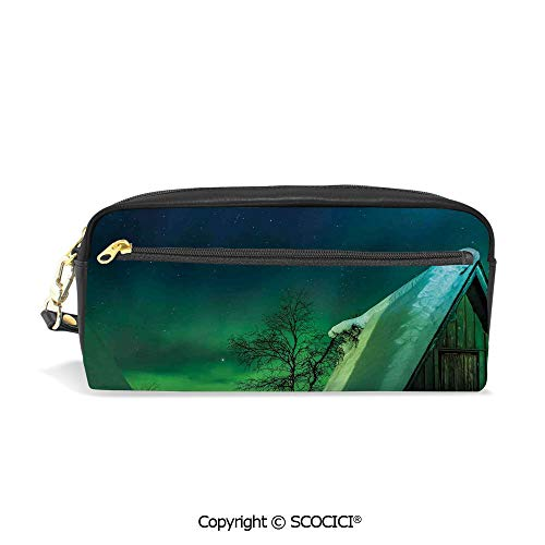 Printed Pencil Case Large Capacity Pen Bag Makeup Bag Wooden Roof House Winter ICY Arctic View Cold Climates Air Image for School Office Work College Travel