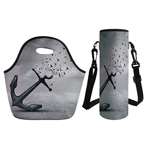 3D Print Neoprene lunch Bag with Kit Neoprene Bottle Cover - Birds - Anchor Turns into Group of Flying Birds Seagulls for Liberty and Hope Mood Graphic Art Decorative - Grey - for Adults Kids