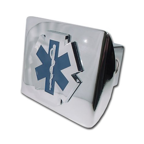 """Emergency Medical Services """"Bright Polished Chrome with EMS EMT Paramedic Emblem"""" Metal Trailer Hitch Cover Fits 2 Inch Auto Car Truck Receiver"""