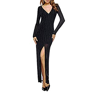Women Sexy Prom Dresses Split Sling Party Cocktail Dress V-Neck Long Sleeve Bodycon Dress