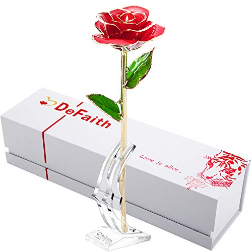 DEFAITH 24K Gold Rose Made from Real Fresh Long Stem Rose Flower, Great Anniversary Gifts for Her, Red with Stand (4th Year Wedding Anniversary Gift Ideas For Her)