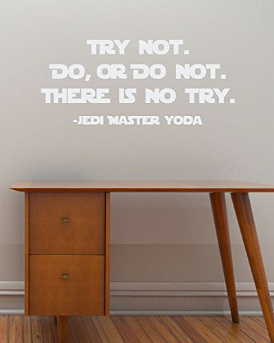 Try Not. Do, or Do Not. There is No Try - Yoda vinyl wall quote - removable text wall decal -Star Wars style wall sticker - 36