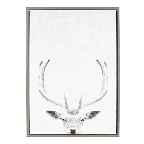 (Kate and Laurel Sylvie Deer Portrait Framed Canvas by Simon Te Tai 23x33 Gray)