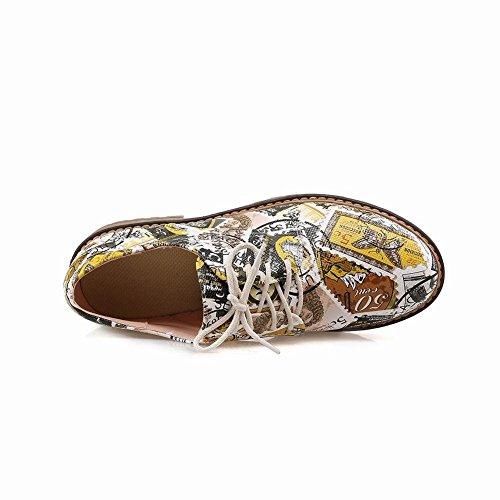 Carolbar Womens Francobollo Stampa Moda Nuovo Stile Casual Stringate Scarpe Oxford Tacco Basso Giallo