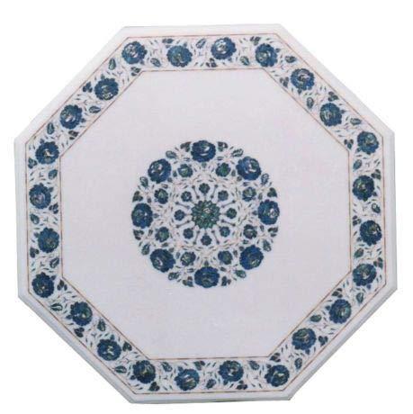 Khusboo Designs Handmade Indian Marble Coffee Table Inlay Semi Precious Stones Sofa Side Tables Garden Table Decor