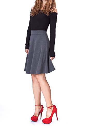 - Simple Stretch A-line Flared Knee Length Skirt (S, Knee Charcoal)