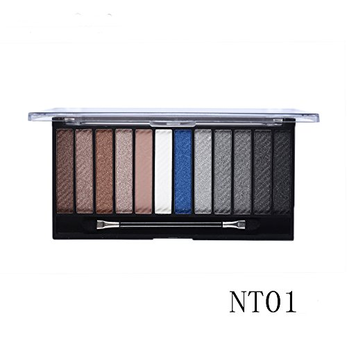 Tmalltide 12 in 1 Eyeshadow Palette Neutral Nude Matte Pigment Cosmetic Makeup Eye Shadow With Brush Palettte tools Kit Set
