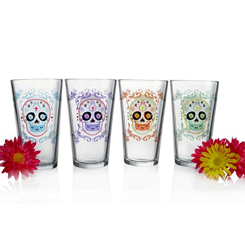 Luminarc Sugar Skulls Assorted Decorated Pub Glasses (Set of 4), 16 oz, Clear ()