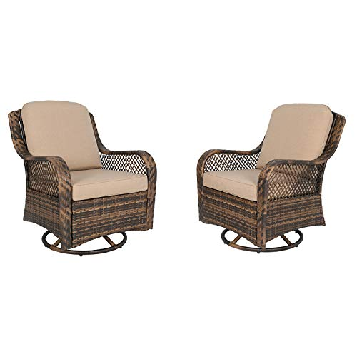 Ulax furniture Patio Wicker Swivel Glider Chair Outdoor Cushioned Rattan Rocker Rocking Chair (Beige)