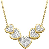 Finecraft Heart Necklace 14K Yellow Gold Flashed & Sterling Silver (Plated Brass)