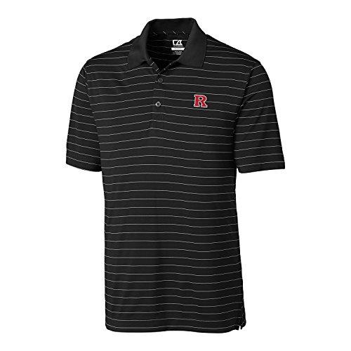 NCAA Rutgers Scarlet Knights Men's CB Dry Tec Franklin Stripe Polo,XX-Large,Black (Knights Logo Rutgers Scarlet)
