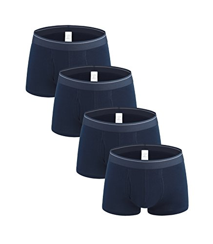 Nuofengkudu Men's 4 Pack Boxer Shorts Briefs Trunk Soft Large Plus Size Cotton Underwear Panty Stretch No Ride Up Gifts Set (Navy Blue XXXL) (Linen Sheer Silk)