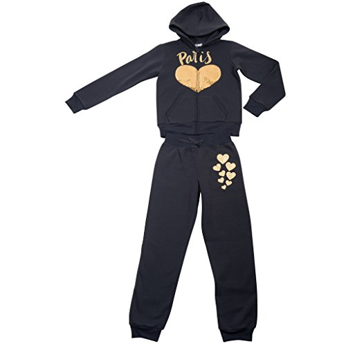 [395584-TypicalBlack-5/6] Girl's Hoodie Tracksuit Set Zip Jacket Pullon Pants (Spoon Long Sleeve T-shirt)