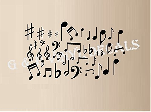 (MUSIC NOTES VINYL WALL DECAL STICKERS LOT OF 40 NOTES HOME DECOR)