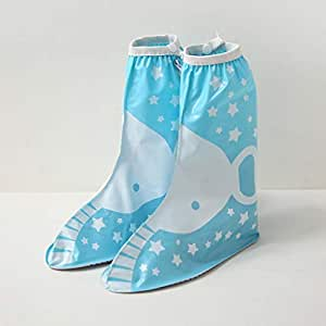 Silicone Rain Boots, Student Silicone Waterproof Rain Boots with Hidden Zipper JCCOZ (Color : Blue, Size : M)