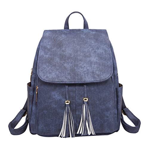 Travel Women Backpack Tassel Girls Bags PU School YuanDian Soft Shoulder Handbags Leather Blue Bag Rucksack Ladies Casual xOEd1xHw