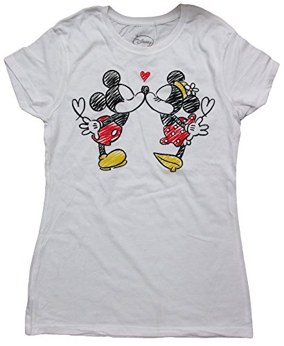 Disney Minnie Mouse Graphic Juniors T-Shirt (X-Large, KissingSketch(White)) (Disney Clothing For Adults)