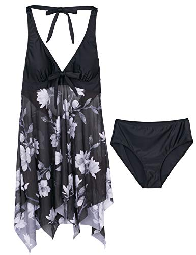 Temptme Women 2 Piece Tankini Swimdress Halter Backless Tankini Top with Boyshorts Bathing Suit (Black Print, Medium(US 8-10))