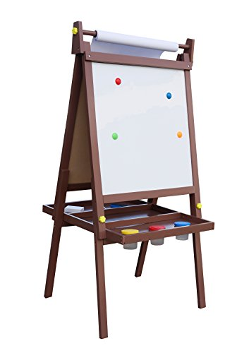 2 Station Art Easel (Pidoko Kids Standing Art Wooden Easel, Espresso - Magnetic Dry Erase Board, Chalk Board and Paper Roller - 2 Sided A-Frame with storage compartment and paint cups - Art Station for Boys & Girls)