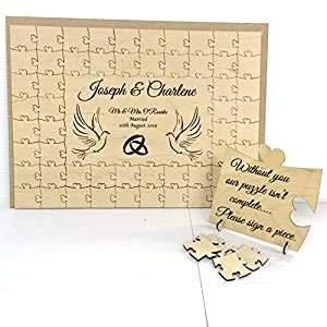 Personalised wooden doves guest book di matrimonio, anniversario a forma di tessera da puzzle, confezione regalo, Legno, 196 pieces FSSS Ltd