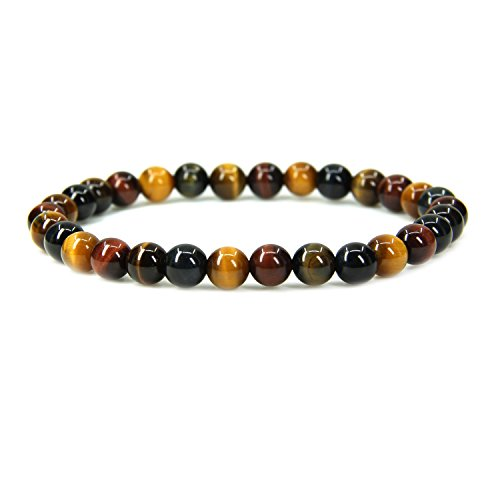 (Natural AA Grade Multicolor Tiger Eye Gemstone 6mm Round Beads Stretch Bracelet 7