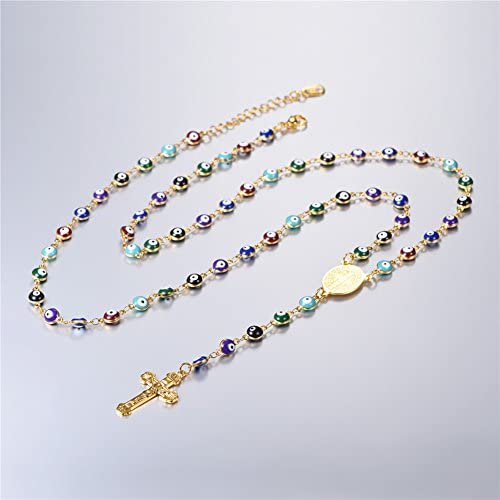 U7 Rosario de Acero Inoxidable con Cruz y Medalla Milagrosa Collar para Rezar con Bolitas Esmaltes Acero Inoxidable//Chapado en Oro 58cm Ajustable