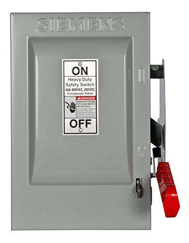 Square Safety Duty Switch D Heavy - Siemens HNF362H 60-Amp 3 Pole 600-volt Non-Fused Heavy Duty Safety Switches