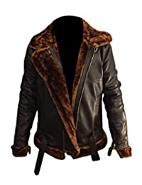 Tashco Fashion Mens Aviator 100% Real Sheepskin Leather Bomber Flying Jacket