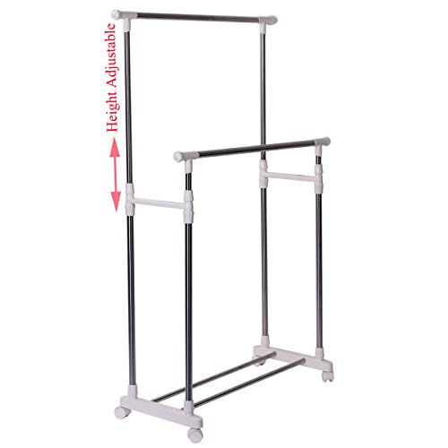Drynatural Laundry Rack Height Adjustable Stainless Steel Double Rail Rolling Freestanding Clothes Rail