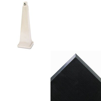 Groundskeeper Mat (KITCWNMASR42BKRCP257088BG - Value Kit - Crown Mat-A-Dor Entrance/Scraper Mat (CWNMASR42BK) and Rubbermaid-Beige Groundskeeper Outdoor Cigarette Receptacle (RCP257088BG))